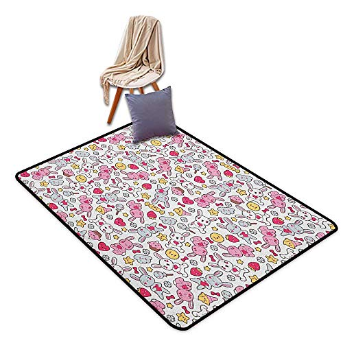 - Oversized Floor Rug Anime Japanese Cartoon Pattern for Kids Nursery with Happy Bunnies Cupcakes Hearts Flowers Girl Room Children's Room Kindergarten Decoration Rug W5'xL7'