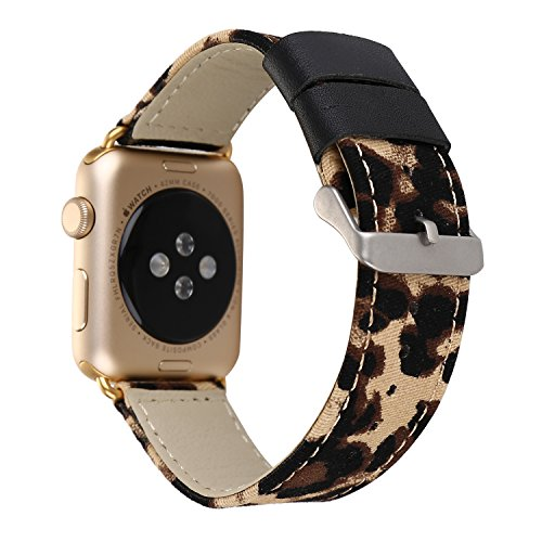 Amedve For Apple Watch Band 38mm, Cheetah Leopard Print Denim Leather Replacement Band iWatch Wristband Strap for Apple Watch Series 3, Series 2, Series 1, Sport & Edition (Leopard)