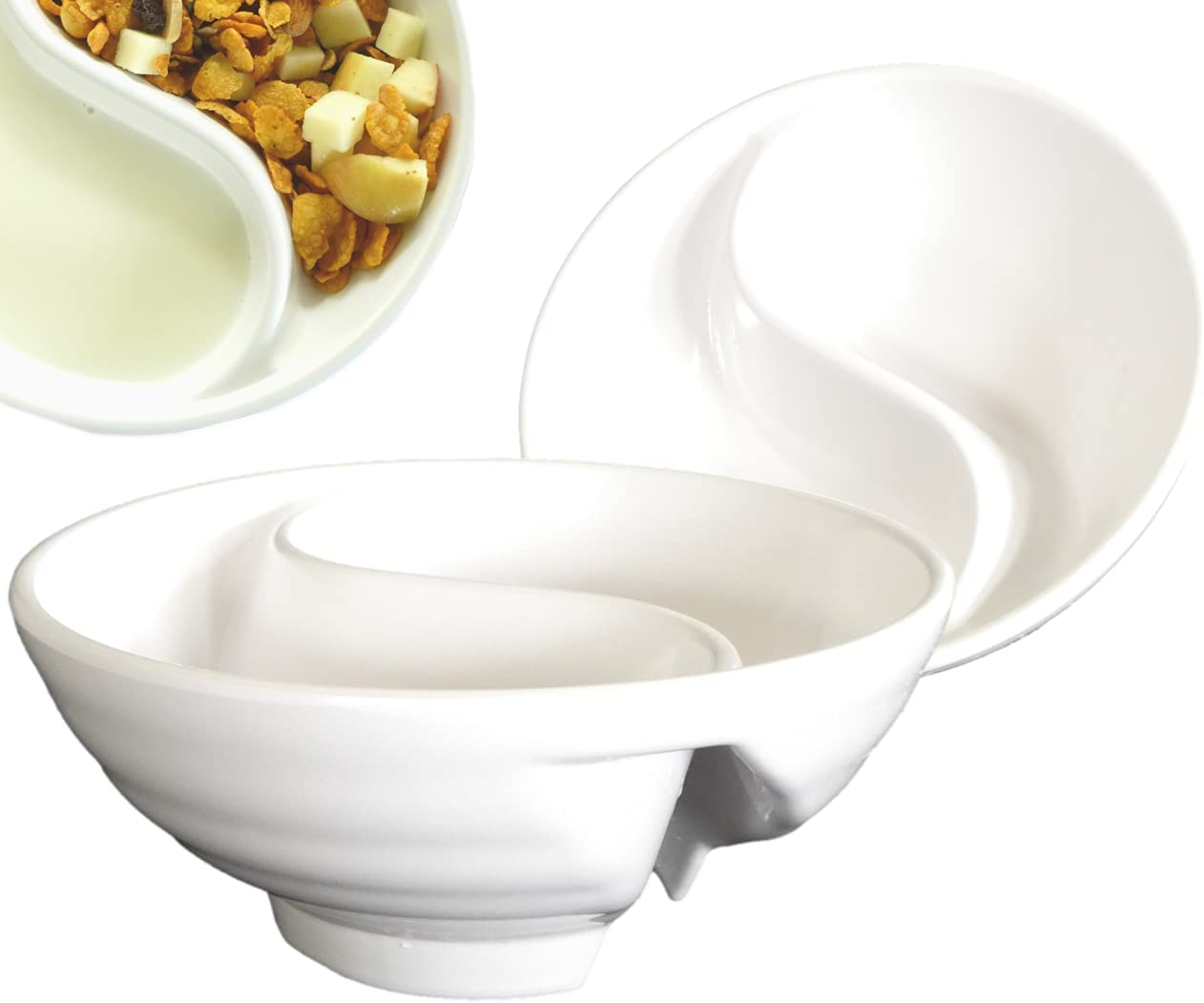 Never Soggy Cereal Bowl. White x2. Divided. Cereal Bowl Separated. Unbreakable Melamine. Two sided bowl. Anti Soggy. Separate. Ideal for Snack And Salsa. By Vallenwood.