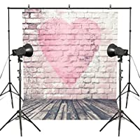 MUEEU 8.5x10ft Valentines Day Pink Heart Shape Brick Wall Photo Backdrops Lovers Wedding Photography Backgrounds Vinyl Printed Wooden Floor Studio Props-Pink White
