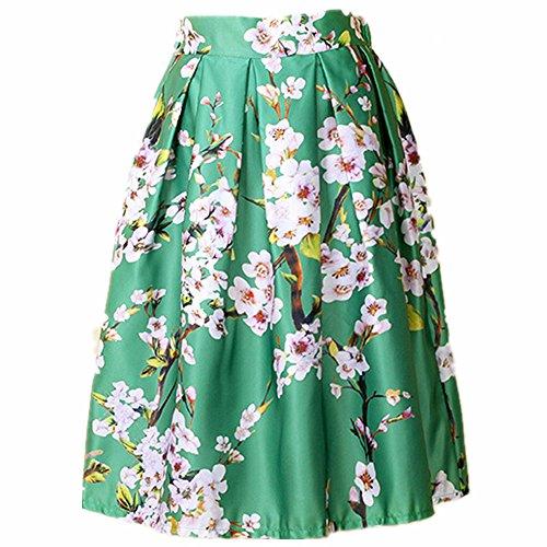 YSJ Women's High Waist A-Line Pleated Skirt Floral Peach Print OL Midi Dress GRN