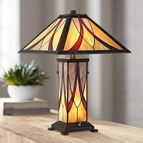 Blythe Tiffany Style Accent Table Lamp with Nightlight LED Art Glass Shade and Body for Living Room Bedroom Bedside Nightstand Office - Franklin Iron Works