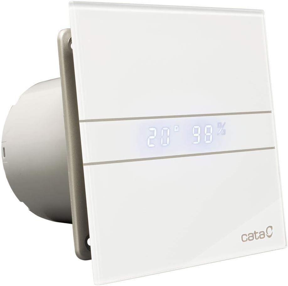 Cata E - 100 GTH Extractor de Aire para Baño Silencioso Serie E, Color Cristal Blanco