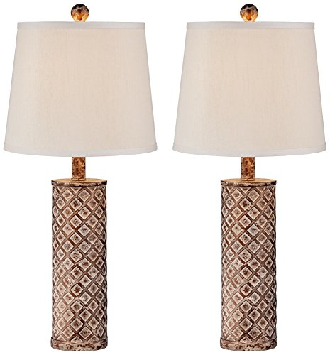 Tapered Column Table Lamp (Gisele Gold Wash Lattice Column Table Lamp Set of 2)