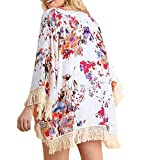 Kimono Robes for Women,Womens Three Quarter Sleeve Floral Printed Shawl Tassel Kimono Cover Up Cardigan,Women's Clothing,White,M