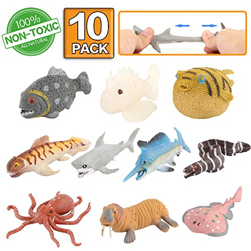 Ocean Sea Animal,10 Pack Rubber Bath Toy Set,Food Grade Material TPR Super Stretchy, Some Kinds Can Change Colour,ValeforToy Squishy Floating Bathtub Toy Figure Party,Realistic Shark Octopus Fish