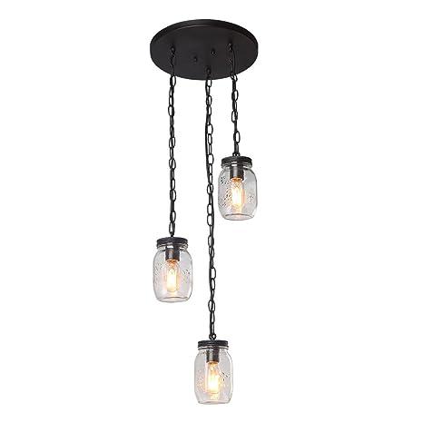 LNC A03223 3 Glass Mason Jar Chandeliers Linear Kitchen Island Light ...