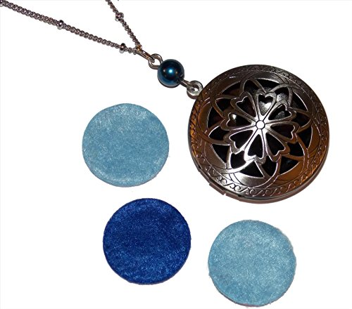 Diffuser Locket Necklace Ornate Filigree Great for Essential Oil Aromatherapy Scent Diffuser (Ornate Locket)