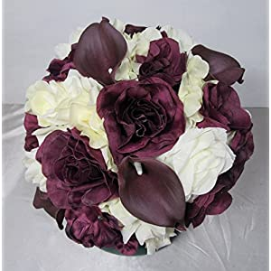 Eggplant Ivory Rose Calla Lily Bridal Wedding Bouquet & Boutonniere 86