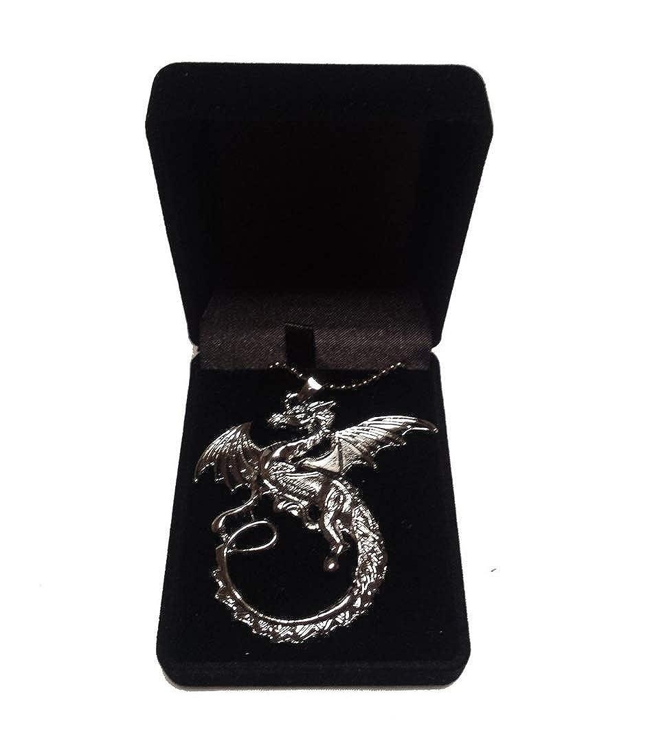 Boîte en velours–Le Hobbit La Désolation de Smaug Tauriel collier pendentif DRAGON flamme Chaîne Bijoux le Seigneur des Anneaux Beaux Bijoux
