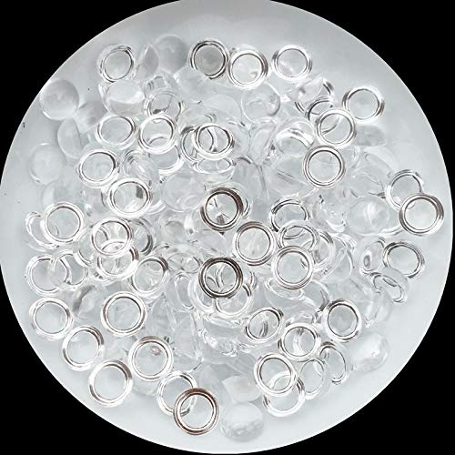 Utini Matte 4mm/6mm/8mm DIY Pendant Jewelry Accessories Cabochon Dome Round Water Droplets Transparent Half Crystal Beads Without Glue - (Size: 4mm Clear 960Pcs)