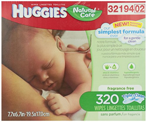 Huggies Natural Care Baby Wipes, Refill, Unscented, Hypoallergenic, Aloe and Vitamin E, 320 Count: Amazon.com: Grocery & Gourmet Food