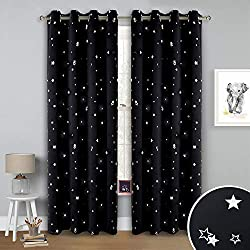 RYB HOME Blackout Curtains for Kids Room Decor Foil Printed Dreamy Star Curtains Thermal Insulated Drapes Sunlight UV Block for Bedroom/Living Room, Wide 52 Inch x Long 84 Inch, 1 Pair