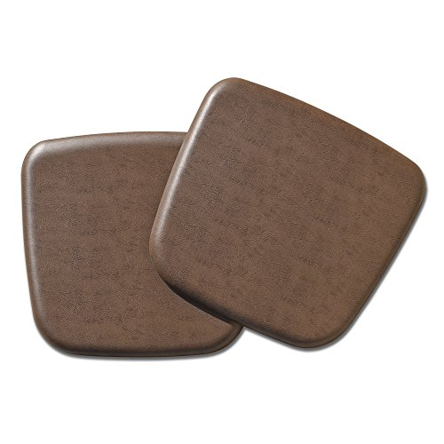 Leather Chair Pads - NewLife by GelPro Vintage Leather Comfort Seat Cushion, 16 x 16, Rustic Brown, 2 Piece