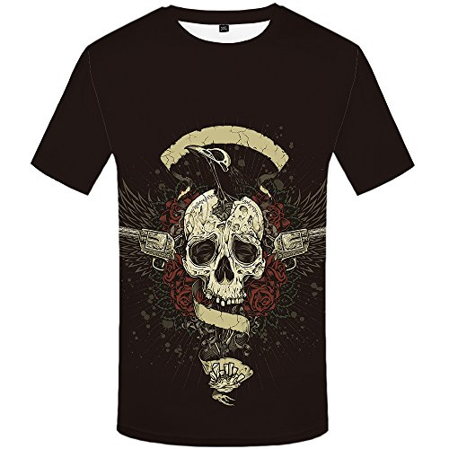 Skull With Wings (Roses T Shirt Angel T-shirts Wing Tees Skull T-shirt Flower Tshirt Punk Tee)