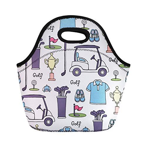 Semtomn Lunch Bags White Drawn Colored Symbols of Golf Pattern Hobby Game Neoprene Lunch Bag Lunchbox Tote Bag Portable Picnic Bag Cooler Bag