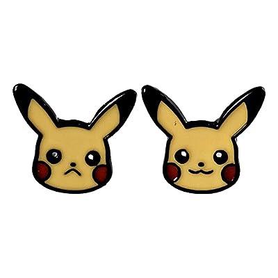 Pikachu Face Metal Enamel Stud Earrings: Toys & Games