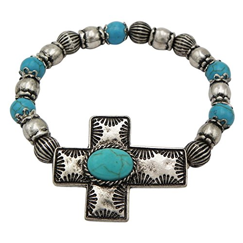 Rosemarie Collections Women's Southwest Turquoise Beaded Religious Cross - South Macys Center