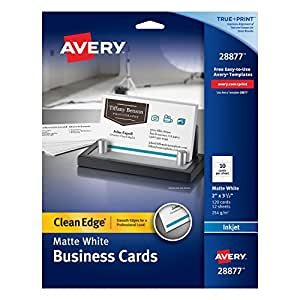 Avery Two-Side Printable Clean Edge Business Cards for Inkjet Printers, White, Matte, Pack of 120 (28877)