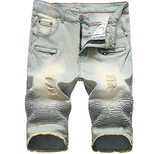 - LERUCCI Mens Summer Ripped Distressed Straight Fit Denim Shorts with Hole Vintage Blue W38