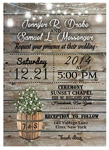 (Personalized Rustic Country Wedding Invitations Bridal Baby Breath Rustic Theme Personalized With RSVP and Envelopes 50 )