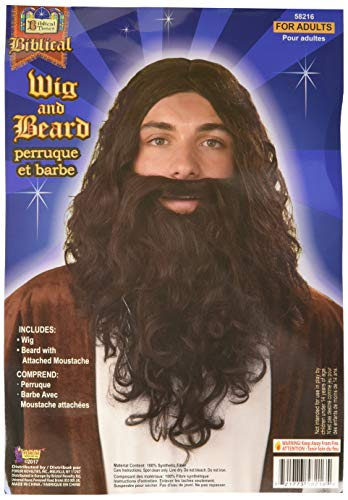 Forum Biblical Wig and Beard Set, Brown, One Size -