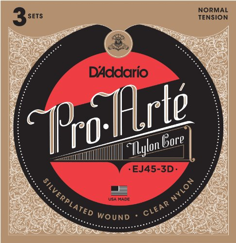 (D'Addario EJ45-3D Pro-Arte Nylon Classical Guitar Strings, Normal Tension (3 Sets) - Nylon Core Basses, Laser Selected Trebles - Offers Balance of Volume and Comfortable Resistance)