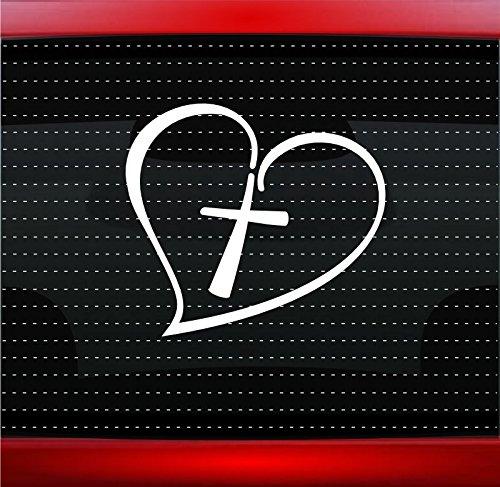 Noizy Graphics Cross Heart #2 Christian Car Sticker Truck Window Vinyl Decal Color: Forrest Green
