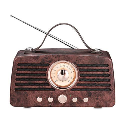 Altavoz Retro Bluetooth, Altavoz inalámbrico portátil Aurtec Bluetooth 4.2 con Radio FM, Altavoz estéreo de Audio para…