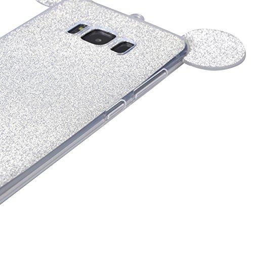 Vandot Suave TPU Bling Funda Carcasa para Samsung Galaxy S8 G9500 Ultra Fina Slim Cubierta Estuche Protectora Caja Con Lindo Oreja de Ratón y Acollador, Resistente a Arañazos y Choque Absorcion - Plat JBMQ 04