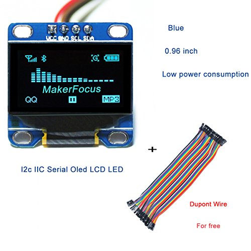I2c IIC Serial Oled LCD LED Blue Display Module 0.96 Inch 128 64 for Arduino and 40pcs Dupont Wire 20CM 40-Pin Female to Female By - Blue 64