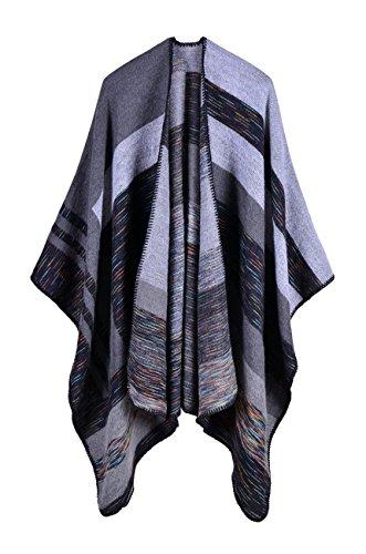 Womens Color Block Basic Classic Faux Cashmere Kimono Cardigan Capes Scarf Black One Size
