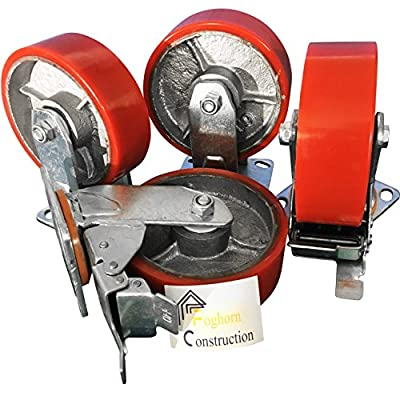 "6"" x 2"" HEAVY DUTY METAL CASTERS WITH POLY TREAD - Set of 4 wheels, 2 fixed, 2 swivel w/brakes"