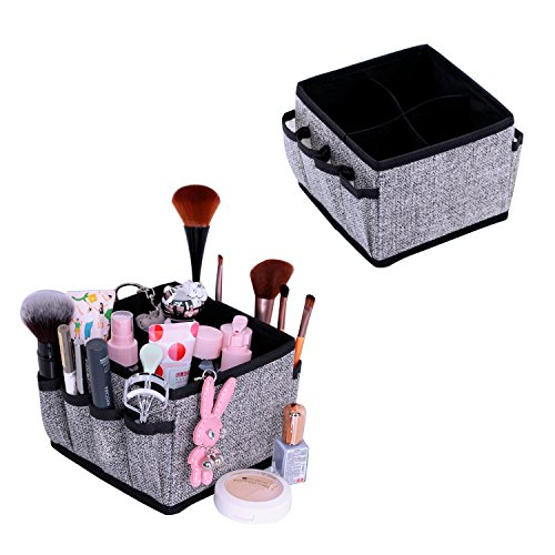 Onlyeasy Makeup Organizer Cosmetic Storage – Drawer Organisers Foldable Storage Bins for Cosmetics Creams Lotions Jewelry Any Accessories with 4 Cells 8 Pockets Set of 2 Black, 8MXAS4P2