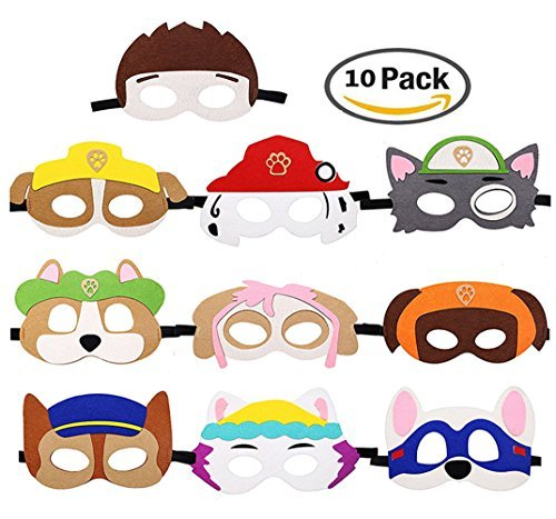 Dlazm Puppy Party Birthday Masks for Paw Patrol Toys-Party Supplies for Kids (Set of 10) ()