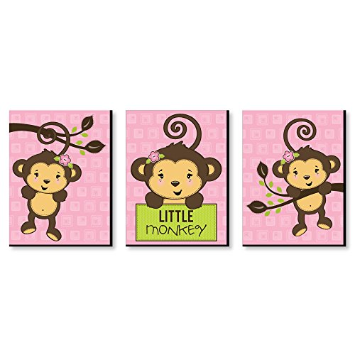 Pink Monkey Girl - Baby Girl Nursery Wall Art and Kids Room Decorations - 7.5 x 10 inches - Set of 3 Prints