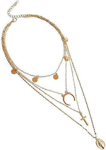 Amazon Com Fxbar Layered Necklace Women Simple Stylish Cross