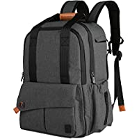 Ferlin Multi-function Baby Diaper Nappy Bags Backpack with Changing Pad, Fashion Design with Anti-Water Material for Both Mom & Dad (Darkgray-0723)