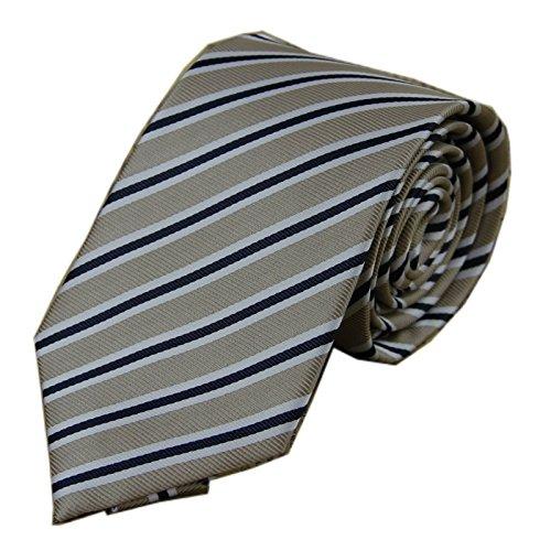 D.berite Men's Necktie Silk Tie Wedding Various Designs Stripe Beige White Black