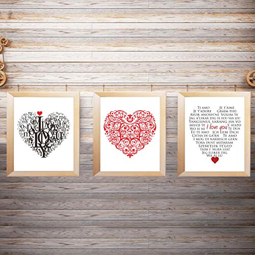 I Love You Trio- Word Art & Floral Art Print Set of (3)-8 x10's