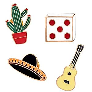 hosaire 4x Broche creativos Cactus/Guitarra/Dados Modelado diseño Broches Ropa Decoración Broche joyas accesorios Brooch