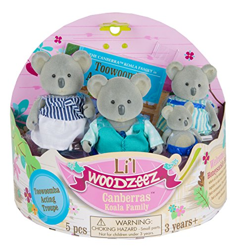 Li'l Woodzeez Canberras Koala Family 4-Piece Storytime Play Set with Storybook