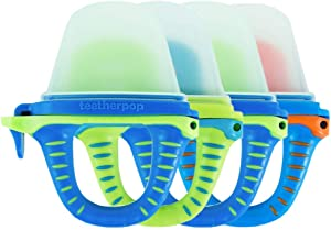 teetherpop 4 Pack Fillable, Freezable Baby Teether for Breastmilk, Purées, Water, Smoothies, Juice & More Baby Teether is USA Made & BPA Free (Blue Multi-Colored)