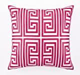 Trina Turk 20-Inch by 20-Inch Greek Key Down-Filled Pillow, Magenta
