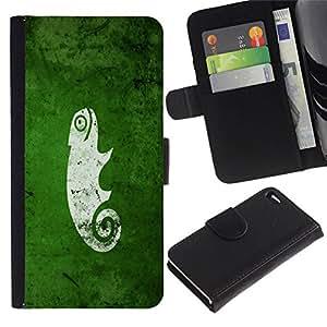 All Phone Most Case / Oferta Especial Cáscara Funda de cuero Monedero Cubierta de proteccion Caso / Wallet Case for Apple Iphone 4 / 4S // Funny Cute Green Nature Chameleon