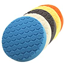 KINGSO Assorted Color Foam Buffing Polishing Pads Kit Set for Car Sanding Polishing Buffing 5pcs Set 7 Inch