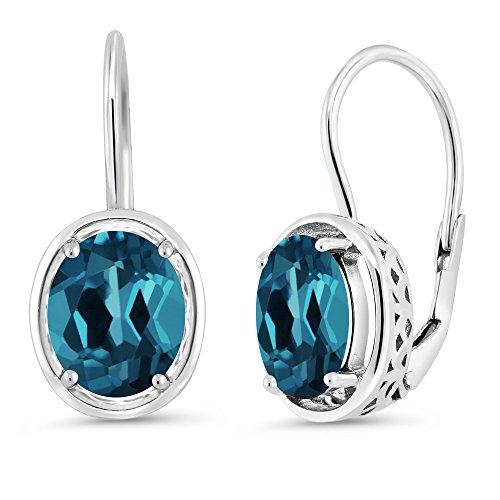 3.60 Ct Oval London Blue Topaz 925 Sterling Silver Dangle Earrings