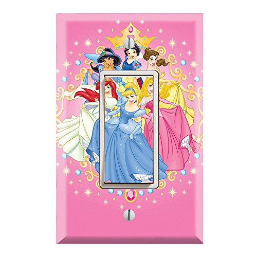 (Single Rocker Wall Switch/Outlet Cover Plate Decor Wallplate - Princess Friends)