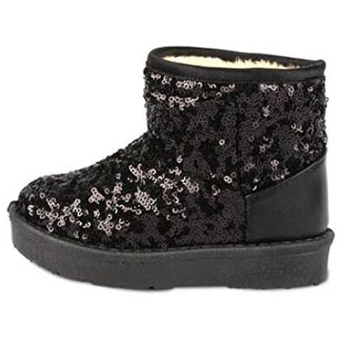 Price comparison product image Bumud Boys Girls Glitter Sequins Fur-Lined Snow Boots Cold Weather Winter Warm Shoes (6 M US Toddler, Black)