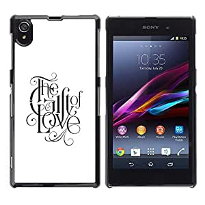 Regalo Del Amor Caligrafía Dios cristiano Fe- Metal de aluminio y de plástico duro Caja del teléfono - Negro - Sony Xperia Z1 L39